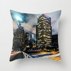 Romantic City Cityscape with Lights Throw Pillow