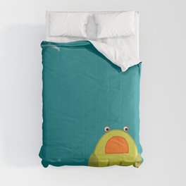 cutte little green frog drawing Comforters