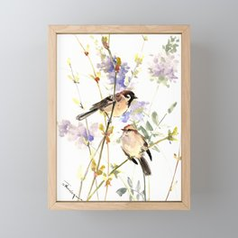 Sparrows and Spring Blossom Framed Mini Art Print
