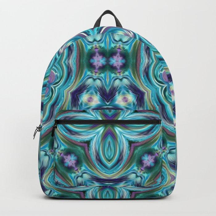 Blue ornament. Kaleidoscope. Backpack