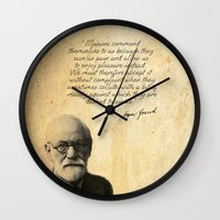 freud Wall Clocks featuring Freud´s Pillow by Vitória Catão