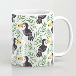 Watercolor green black yellow toucan bird floral Coffee Mug