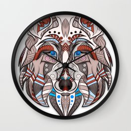 wolf illustration red/blue Wall Clock