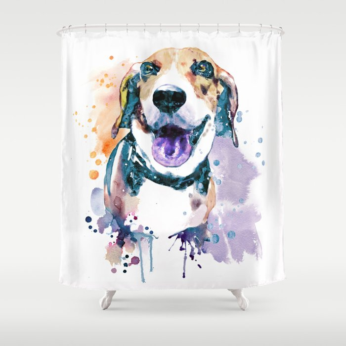 Sweet Beagle Shower Curtain By Marianvoicu