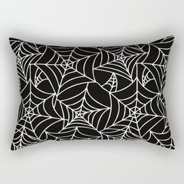 Gothic Halloween - white spider webs on black background Rectangular Pillow