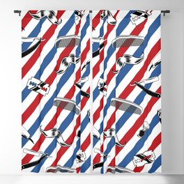 Barber Shop Pattern Blackout Curtain