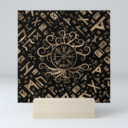 Vegvisir Tree of life Yggdrasil and Runes Mini Art Print