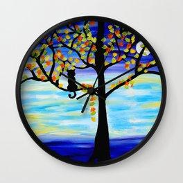 Moonlight Kitten Wall Clock