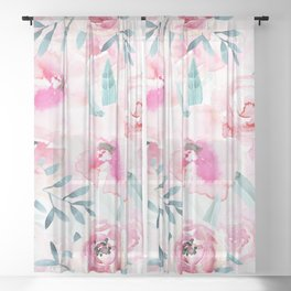 Pink Watercolor Florals Sheer Curtain
