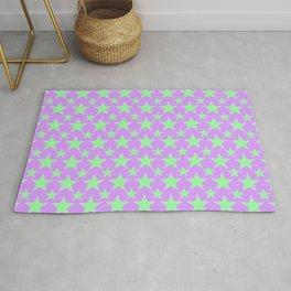 Green Star Pattern on Purple Rug