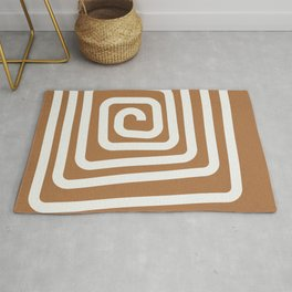 Spiral, Abstract, Boho, Neutral, Minimalist, Line Art Rug