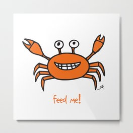 Mr and Mrs Crabby Amanya Design White Single FEED ME! Metal Print