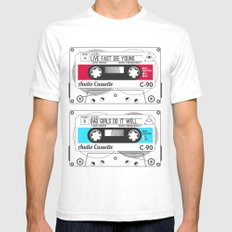 Audio Cassette SIDE A ▲LIVEFASTDIEYOUNG▲ RED White Mens Fitted Tee SMALL