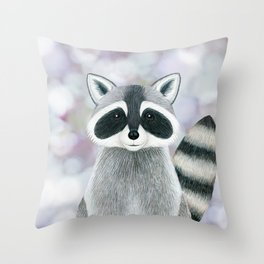 raccoon woodland animal portrait Throw Pillow