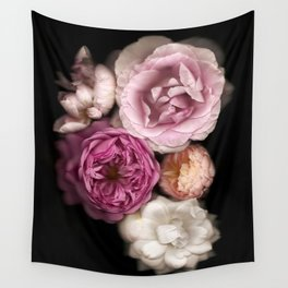 Pink, Purple, and White Roses Wall Tapestry