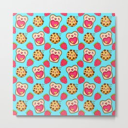 Cute funny sweet adorable happy Kawaii toast with raspberry jam and butter, chocolate chip cookies, red ripe summer strawberries cartoon fantasy pastel blue pattern design Metal Print