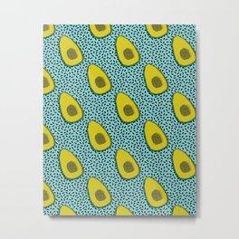 Fer Shure - memphis retro throwback avocado love fruit vegetable vegan vegetarian raw food art Metal Print