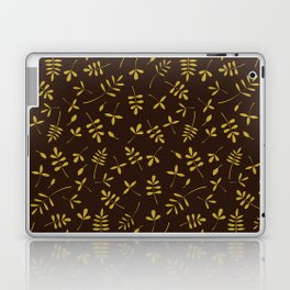 Gold Leaves Design on Brown Laptop & iPad Skin