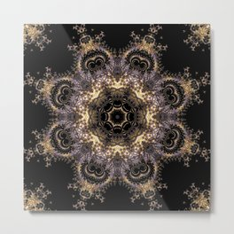Purple and Gold Fractal Kaleidoscope 2 Metal Print