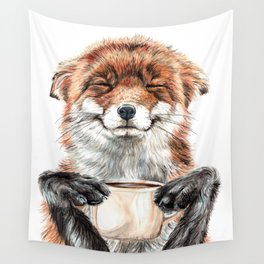 """ Morning fox "" Red fox with her morning coffee Wall Tapestry"