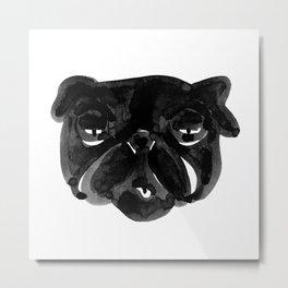 Irritated Sleepy Pug Dog Metal Print