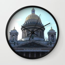 Isaac Cathedral dome facade with bell towers Wall Clock