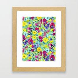 Wild Garden Aqua Framed Art Print