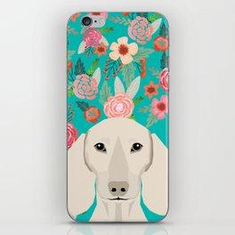 Dachshund florals flower pet portrait dog art dachsie doxie pet art dog breeds iPhone Skin