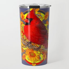 GOLDEN SUNFLOWERS RED CARDINAL GREY ART Travel Mug