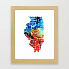 Illinois - Map Counties by Sharon Cummings Framed Art Print