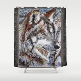 Gray Wolf Watches and Waits Shower Curtain