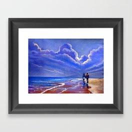 Walking along the sea Framed Art Print