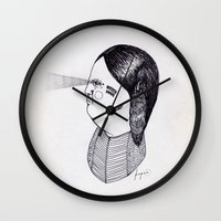 the godfather Wall Clocks featuring Apache Godfather by Topiz