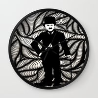 charlie chaplin Wall Clocks featuring Charlie Chaplin by Gabrielle Wall