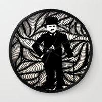 chaplin Wall Clocks featuring Charlie Chaplin by Gabrielle Wall