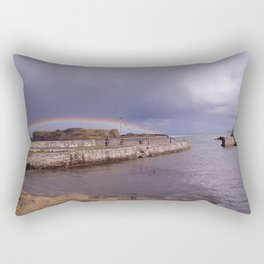 Rainbow Over Ballintoy Harbour, County Antrim, Northern Ireland Rectangular Pillow