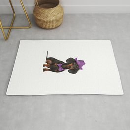 Drawing Dog breed dachshund portrait oil painting Rug