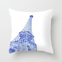 eiffel tower Throw Pillows featuring Eiffel Tower by BlueShadowM