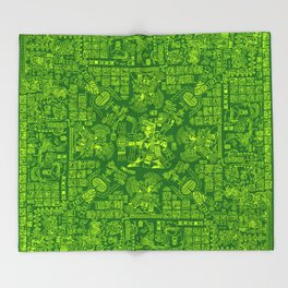 Mayan Spring GREEN / Ancient Mayan hieroglyphics mandala pattern Throw Blanket
