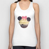 minnie mouse Tank Tops featuring Minnie Mouse Cupcake by Loulabelle