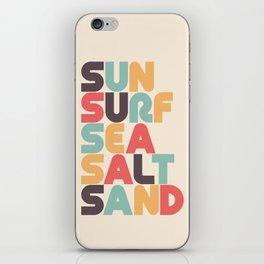 Retro Sun Surf Sea Salt Sand Typography iPhone Skin