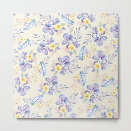 Lavender yellow purple watercolor modern floral Metal Print