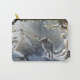 Friends: Wolf & Squirrel in Winter Carry-All Pouch