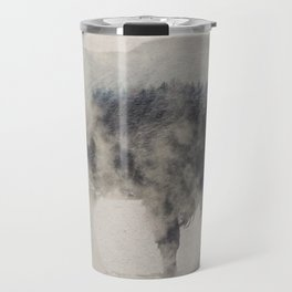 Bison In The Fog Travel Mug