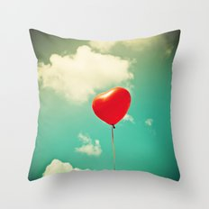 Red Heart Balloon in a Vintage Turquoise Sky  Throw Pillow