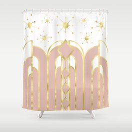 Art Deco Geometric Architectural Shapes and Stars in Blush Pink and Yellow Gold Shower Curtain