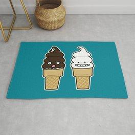 Soft Serve Ice Cream Cone wafer waffle chocolate vanilla Rug