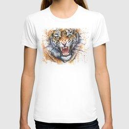 Tiger Watercolor Animal Painting T-shirt