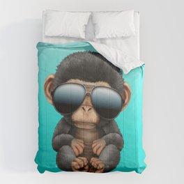 Cute Baby Chimp Wearing Sunglasses Comforters