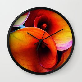 Orange Calla Lillies Wall Clock